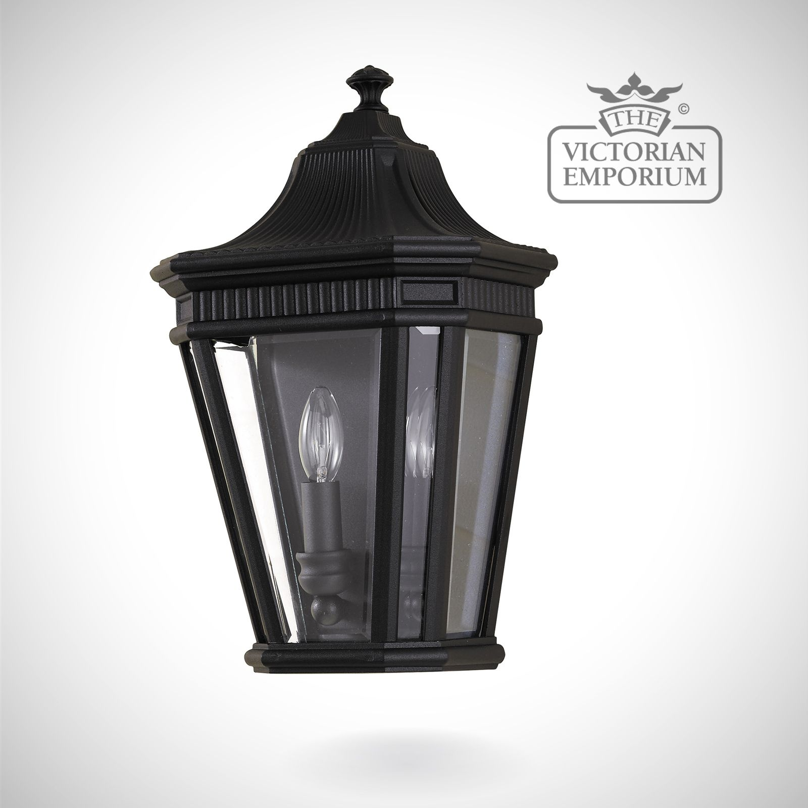 Cotswold Half Wall Lantern In Black Outdoor Wall Lights