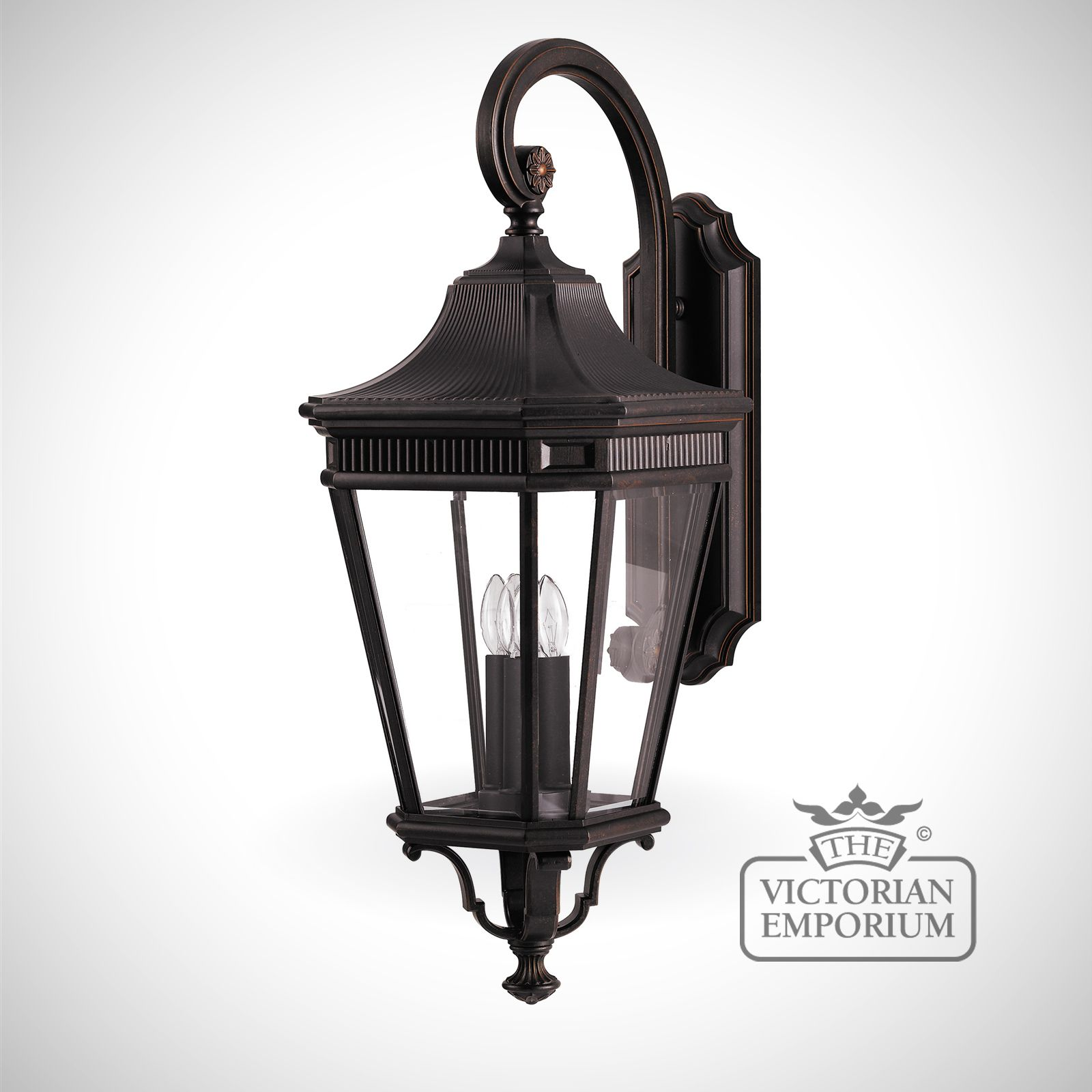 Large Lantern Wall Lights : Cotswold large wall lantern in Bronze Outdoor Wall Lights