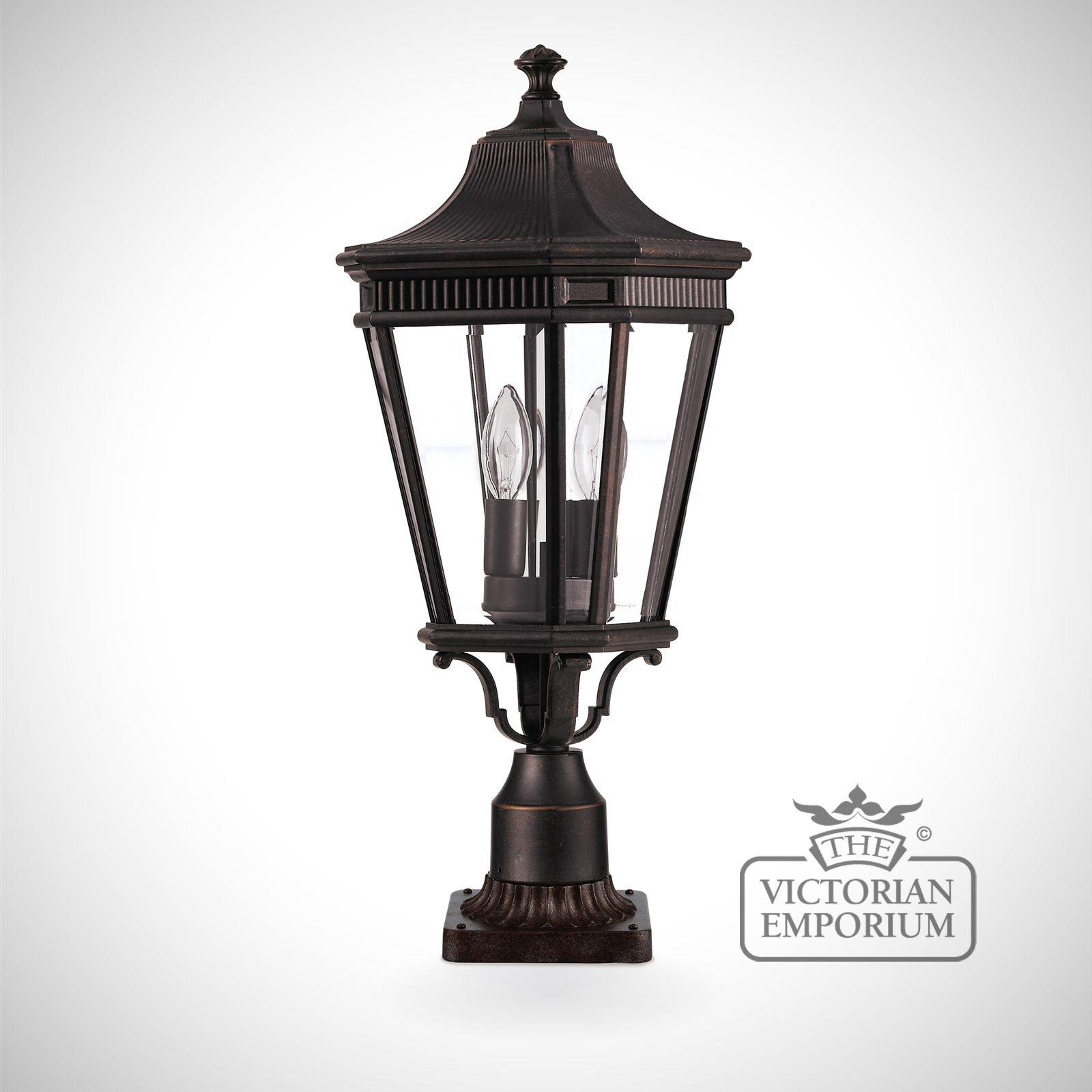 Cheltenham Cast Pedestal Lantern Light Black: Cotswold Large Pedestal Lantern In Bronze