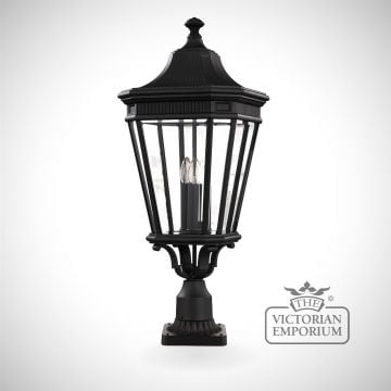 Cotswold large pedestal lantern in Black