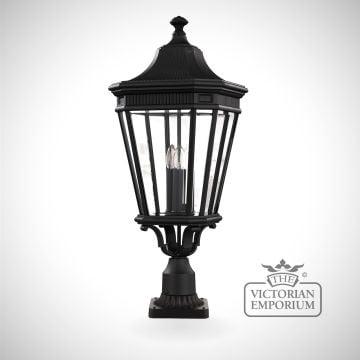 Cotswold large pedestal lantern in Black