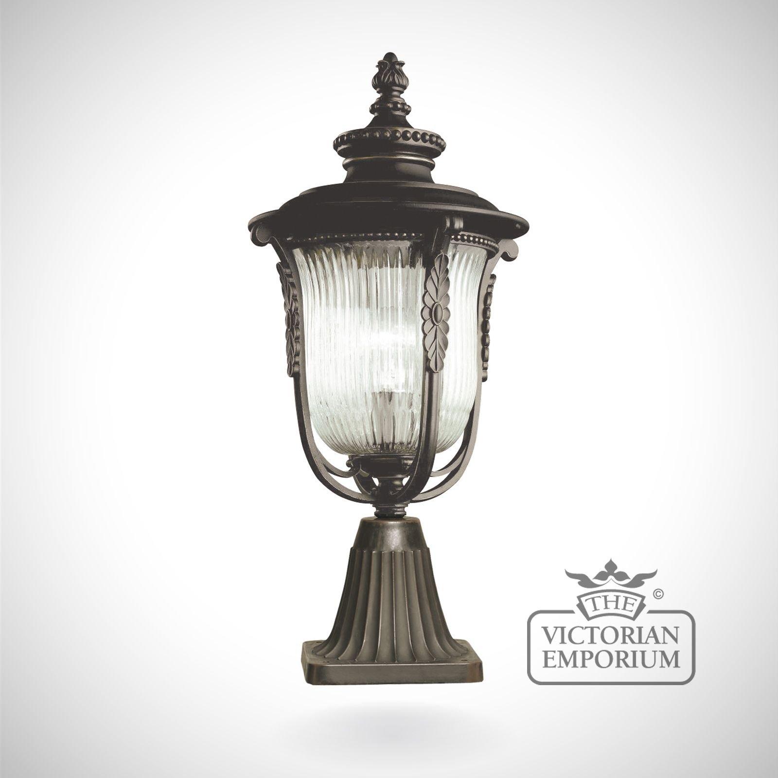 Cheltenham Cast Pedestal Lantern Light Black: Laverne Pedestal Lantern