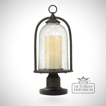 Quince pedestal lantern in oil rubbed bronze