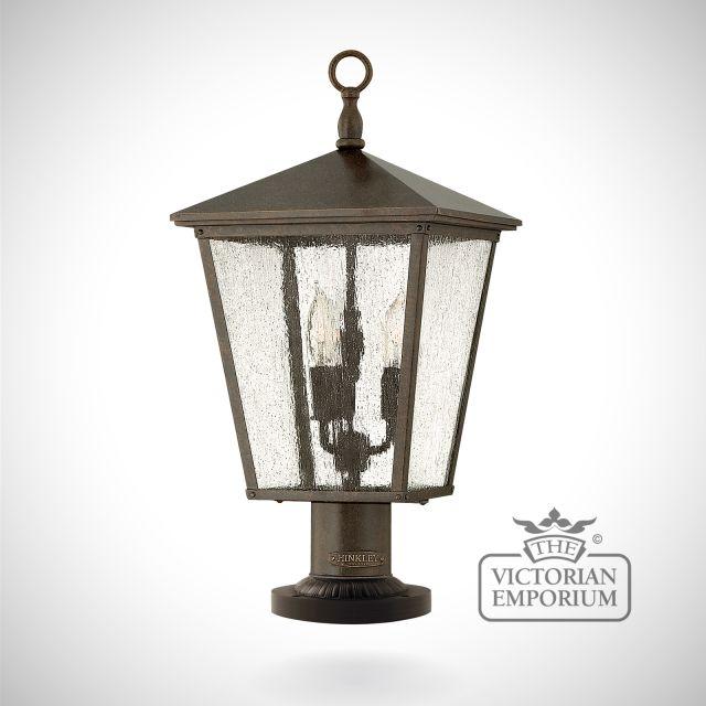 Trellis pedestal lantern - Regency Bronze