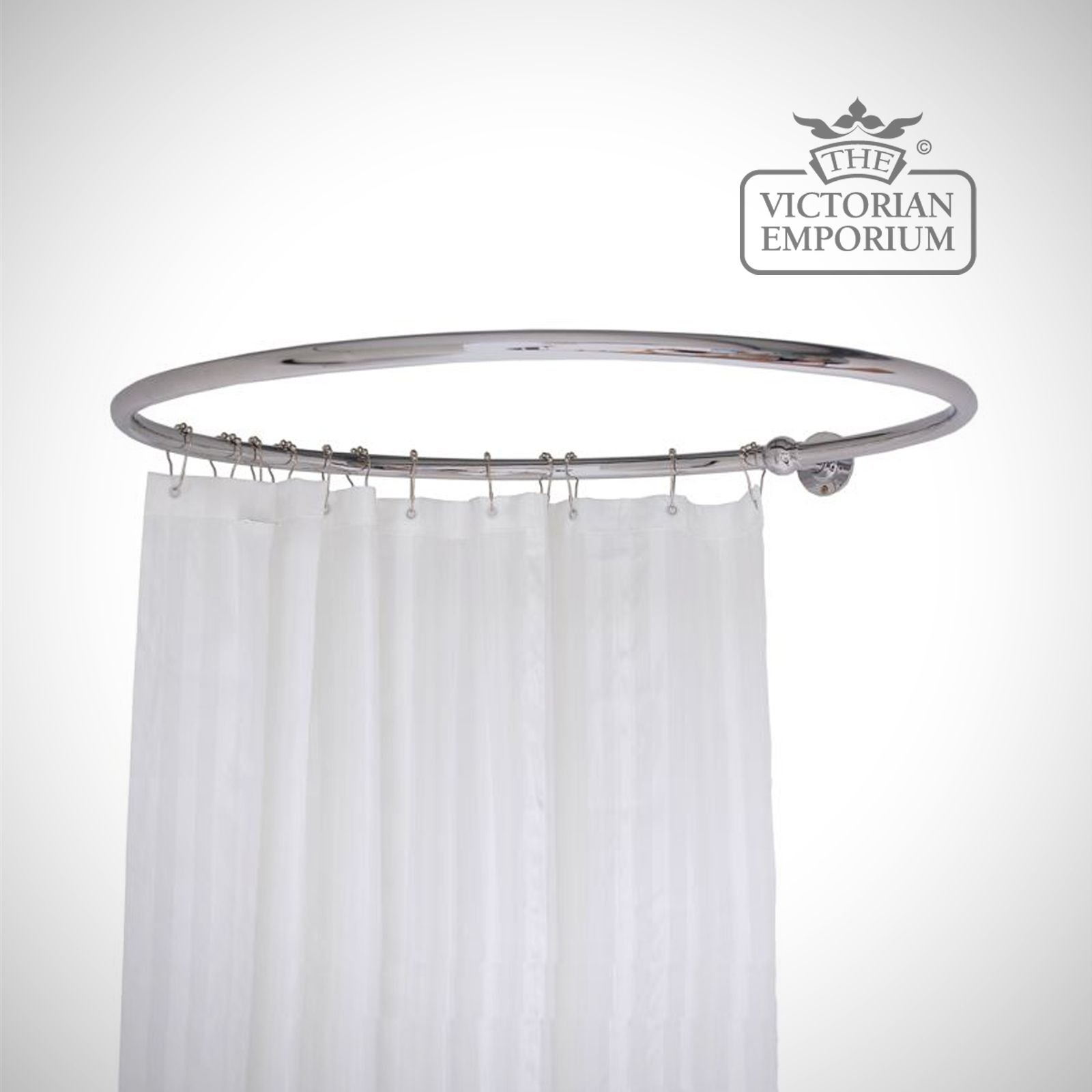 round shower curtain rail chrome with one wall stay. Black Bedroom Furniture Sets. Home Design Ideas