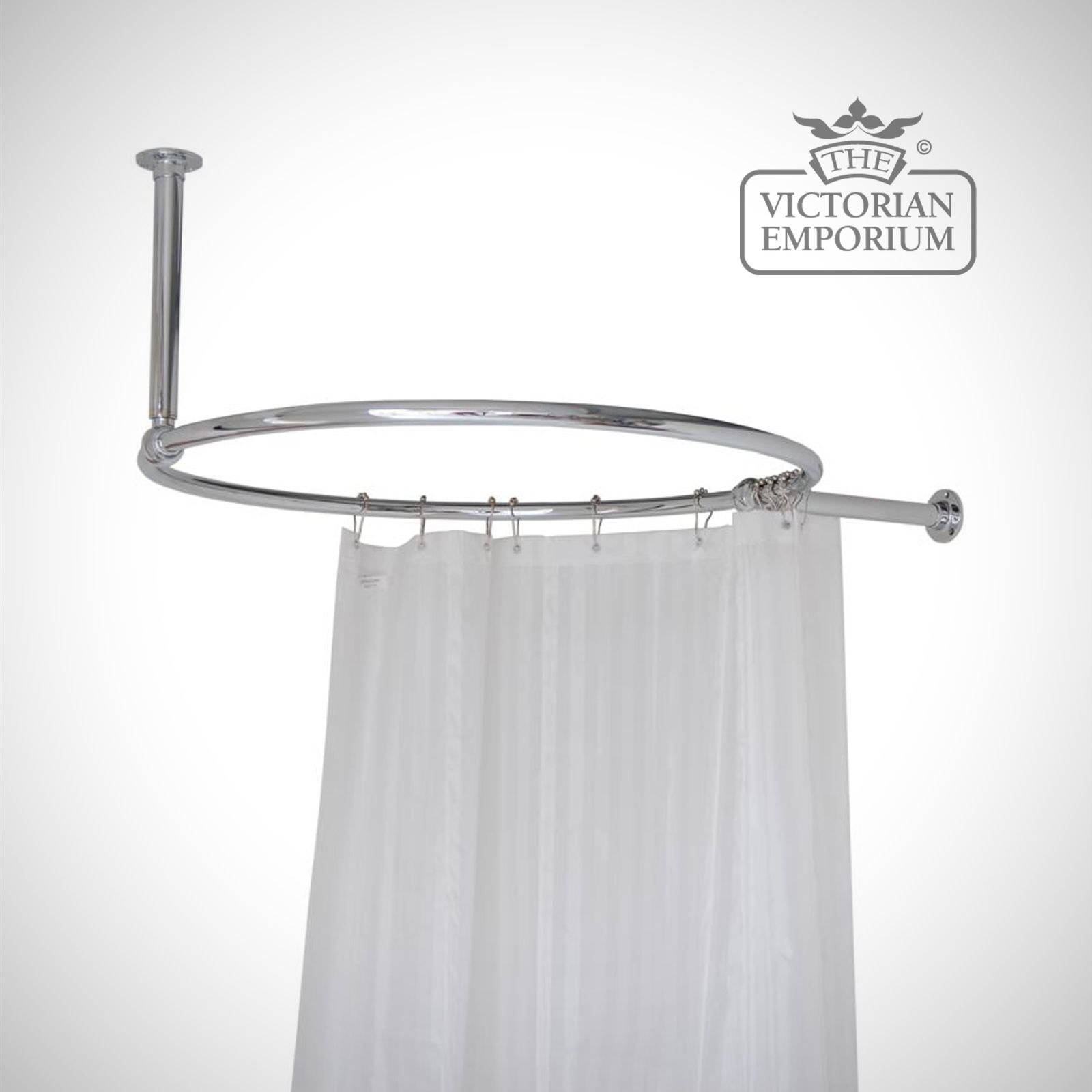 round shower curtain rail chrome with a wall and ceiling stay