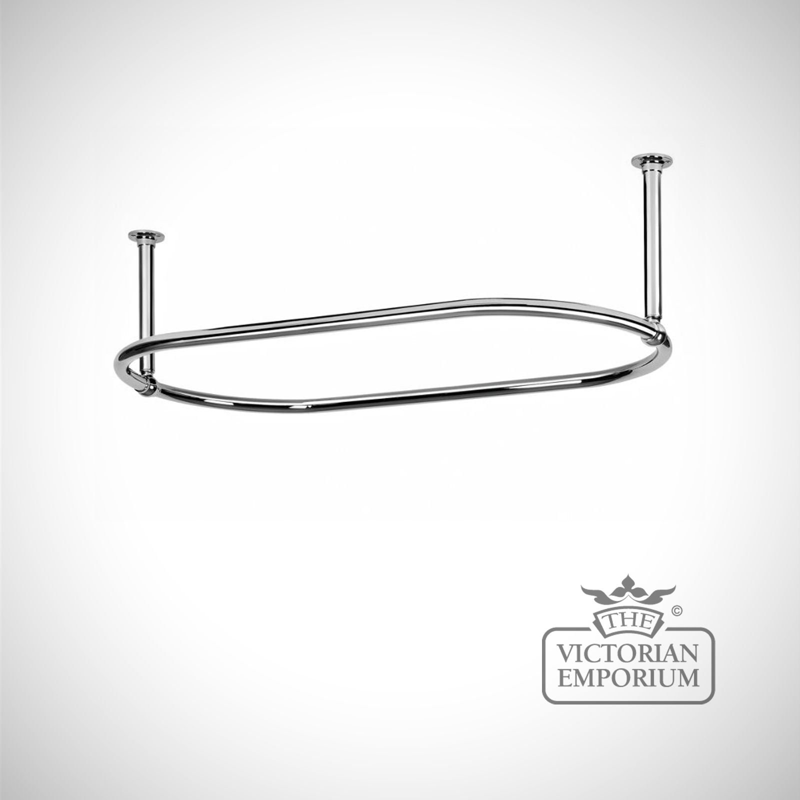 Oval Shower Curtain Rail Chrome With End Stays Bathroom