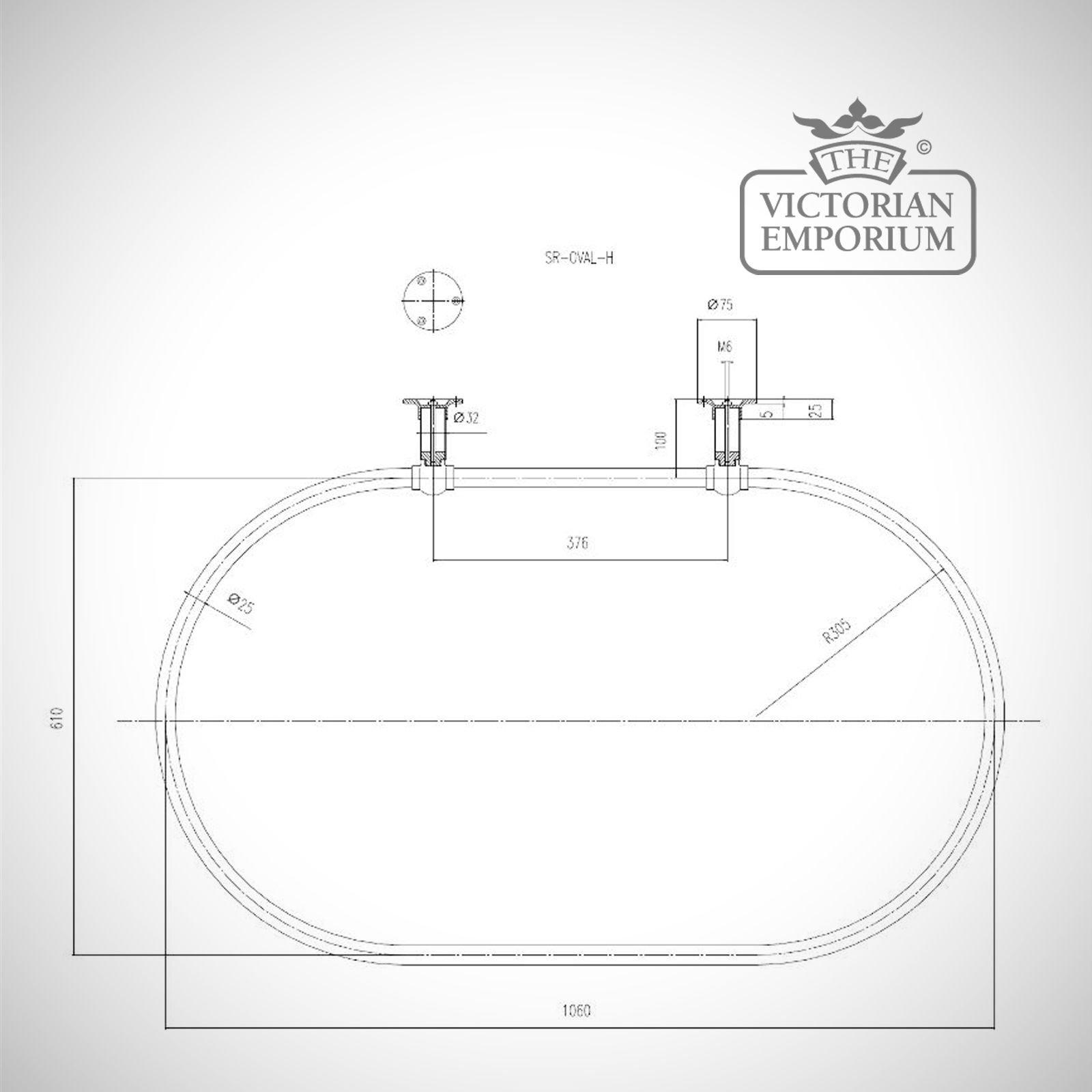 Oval Shower Curtain Rail Chrome With Side Stays Same Side Bathroom Access