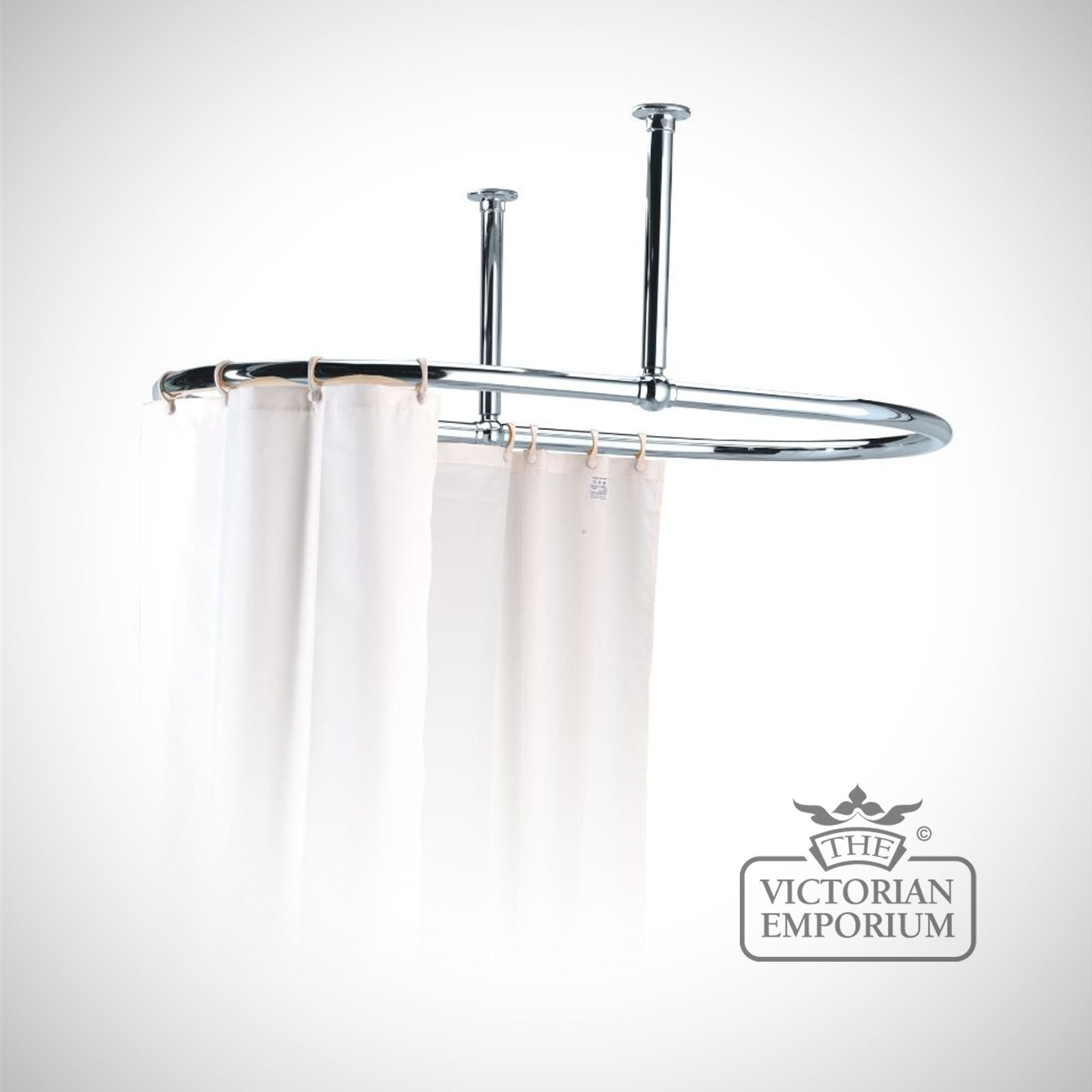 Oval Shower Curtain Rail Chrome with Side stays | Bathroom Accessories