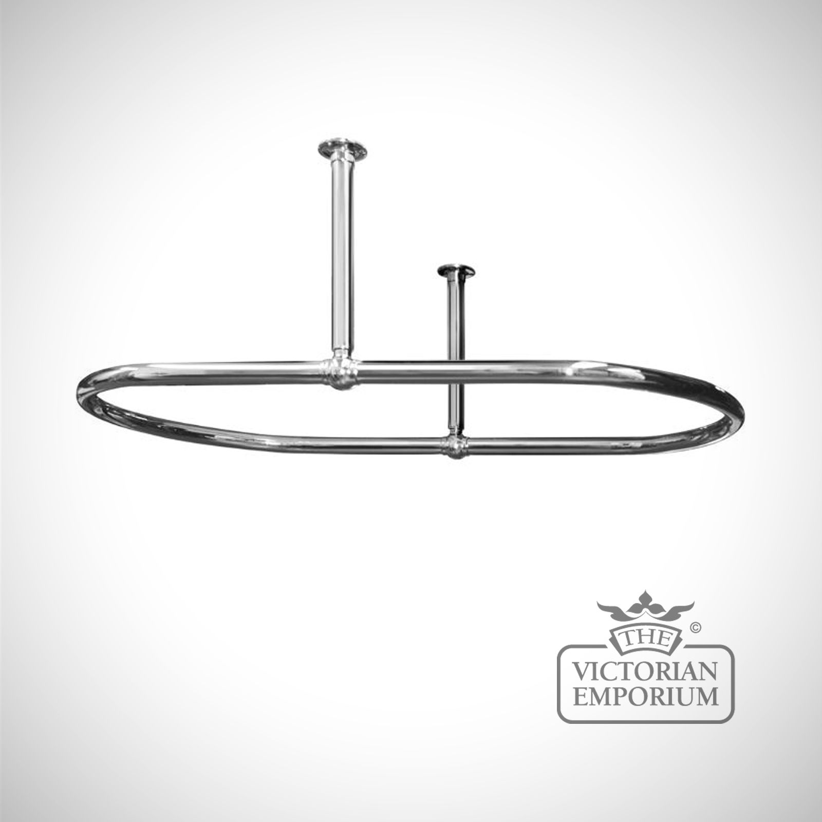 Oval Shower Curtain Rail Chrome With Side Stays ...