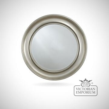 London mirror with decorative silver circular frame - 91cm diameter