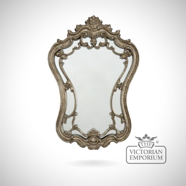 Alquezar mirror in highly decorative antique silver frame -89x61cm