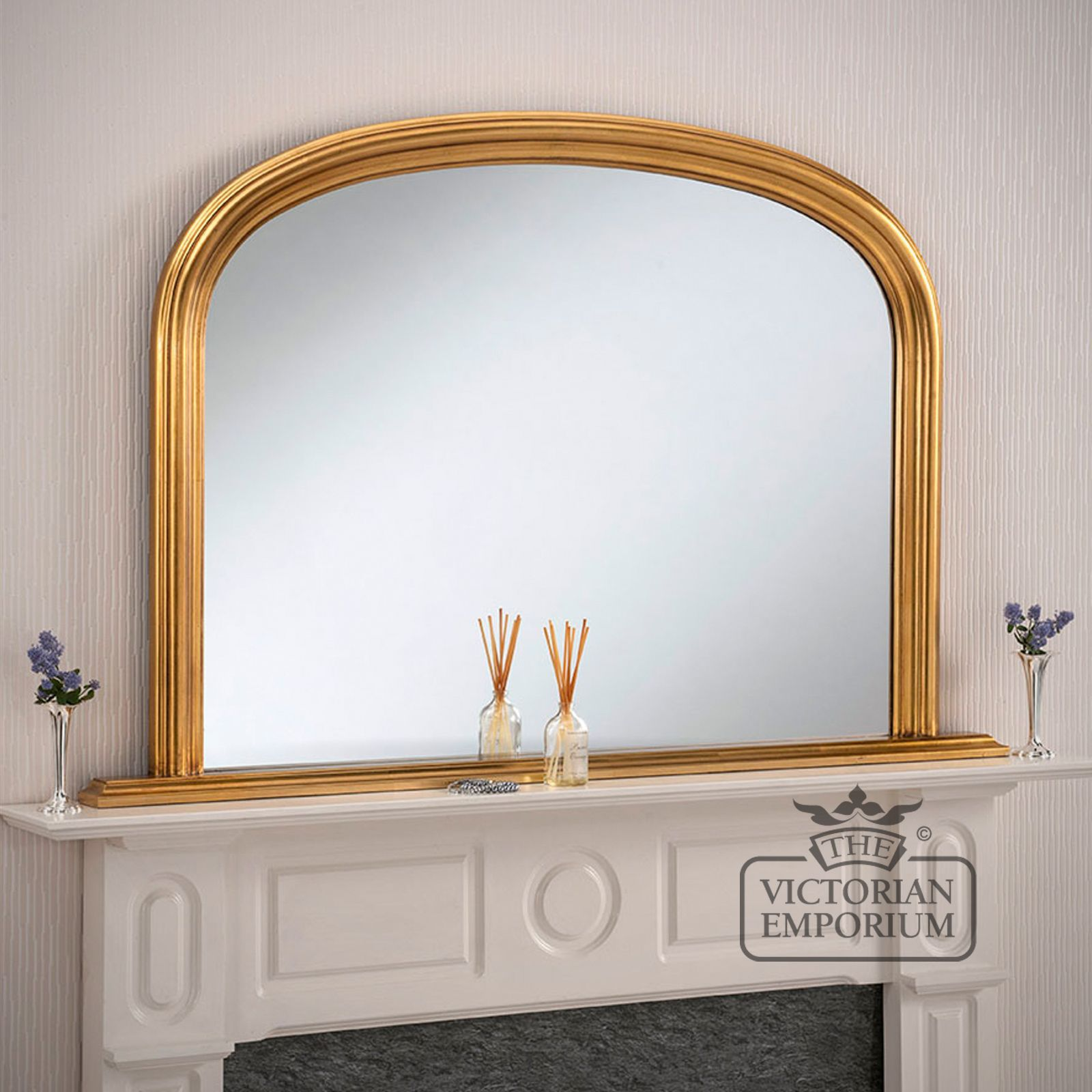 Winchester overmantel mirror with gold frame 119x79cm for Fireplace mirrors