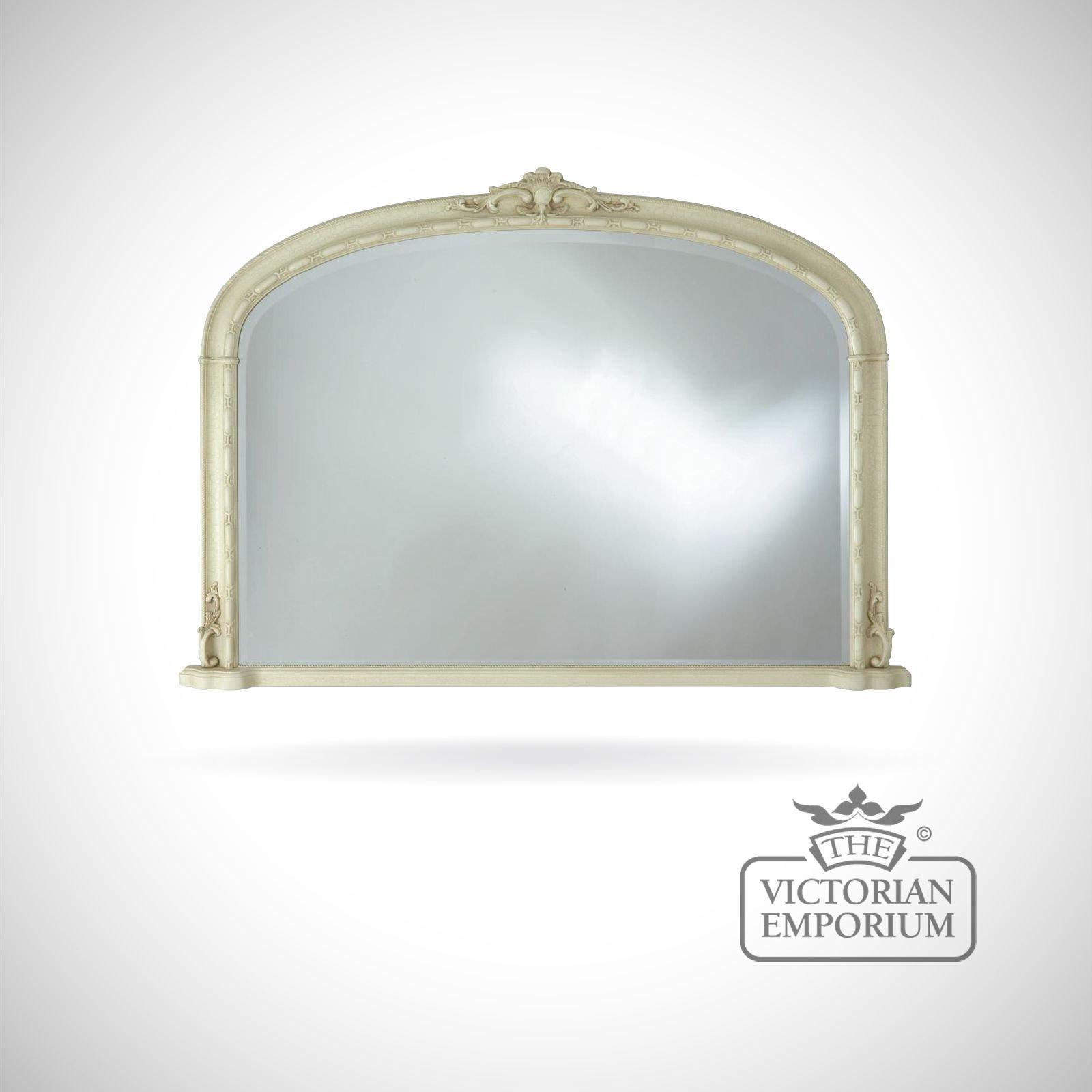 Hampton Overmantle Mirror 127cm X 91cm With Ivory Frame