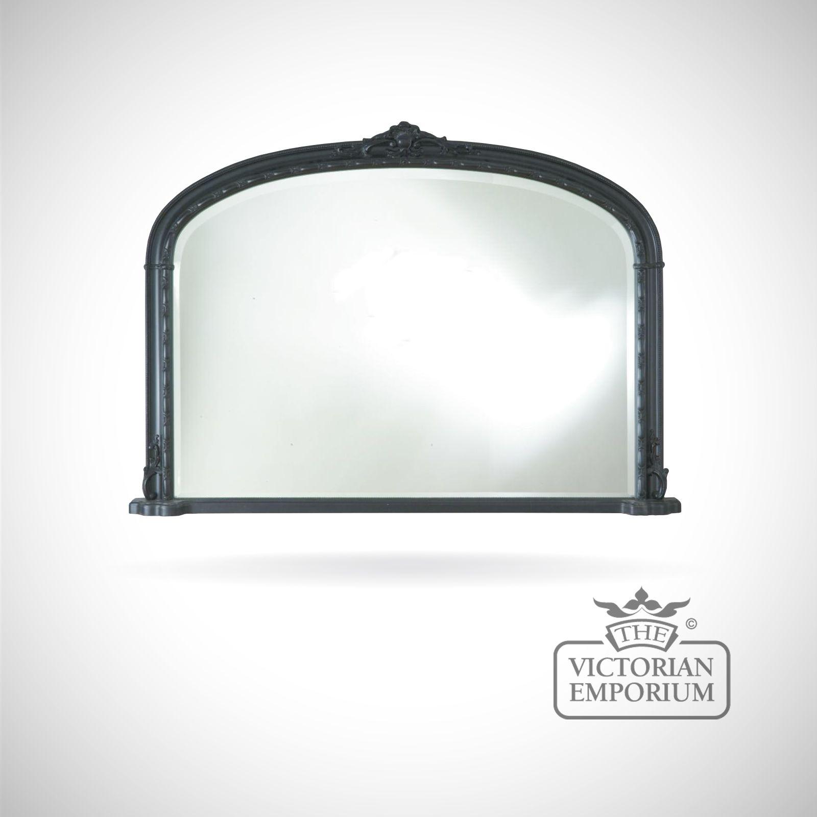 Hampton Overmantle Mirror With Black Frame 127cm X 91cm