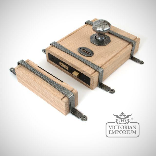 Pewter Patina Oak Box Lock