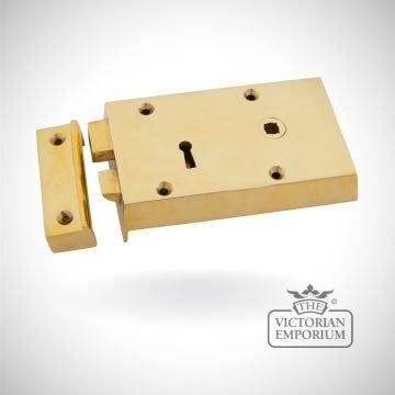 Polished Brass Right Hand Rim Lock - Small