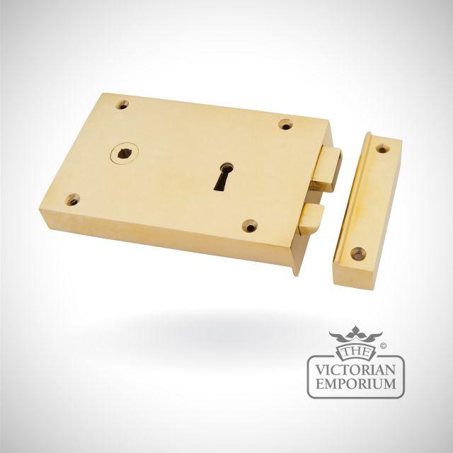 Polished Brass Left Hand Rim Lock - Large
