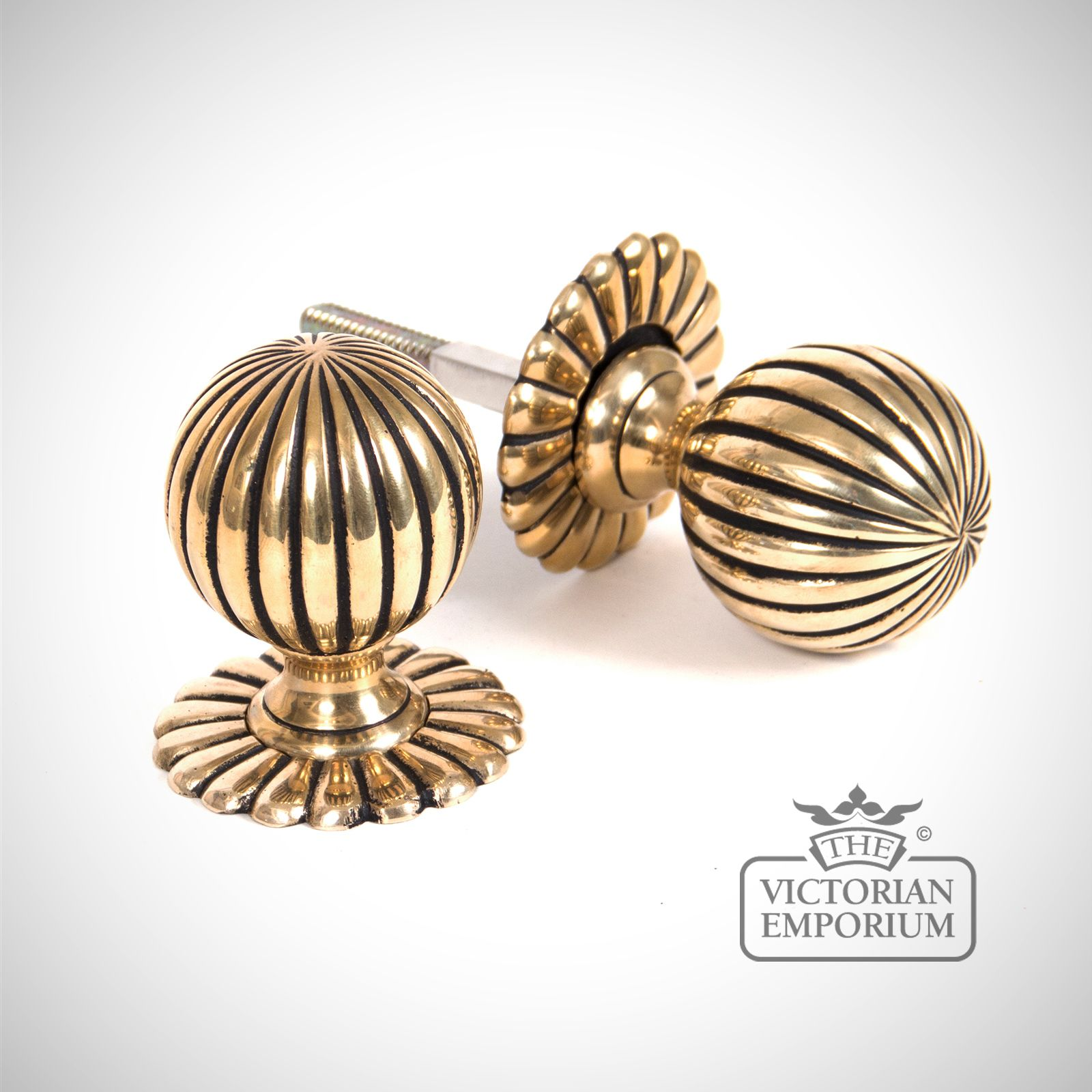 Flower Mortice Knob Set Polished Brass Knobs