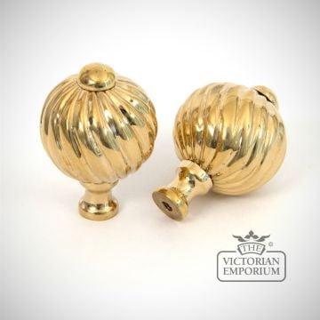 Polished Brass Spiral Cabinet Knob