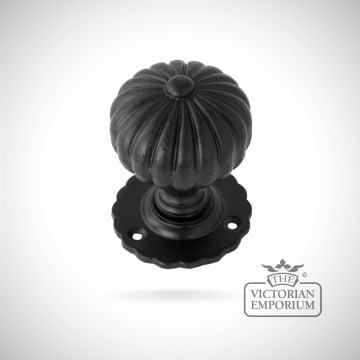Black Flower Mortice Knob Set