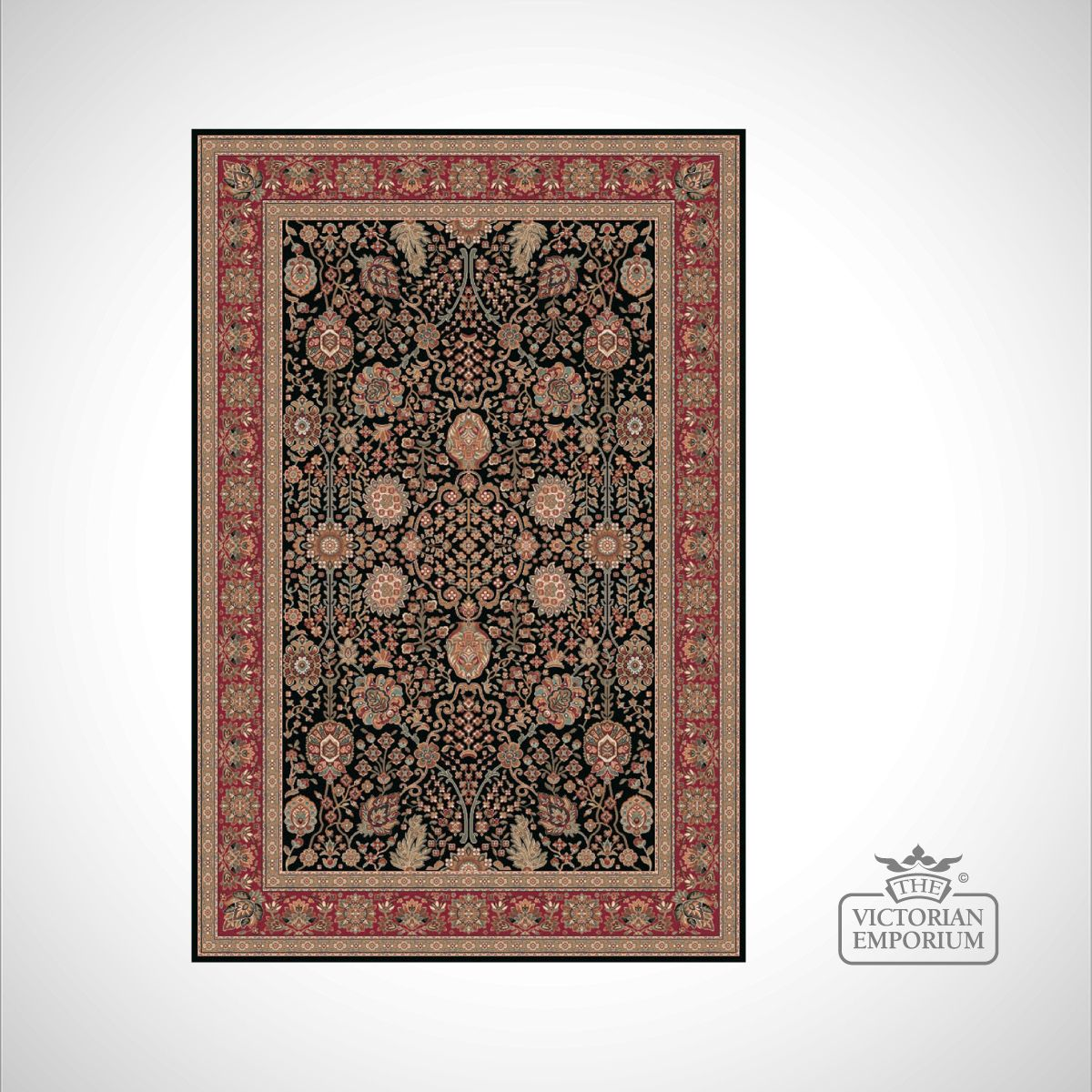 Victorian Rug Style Fa5687 Black Red Rugs