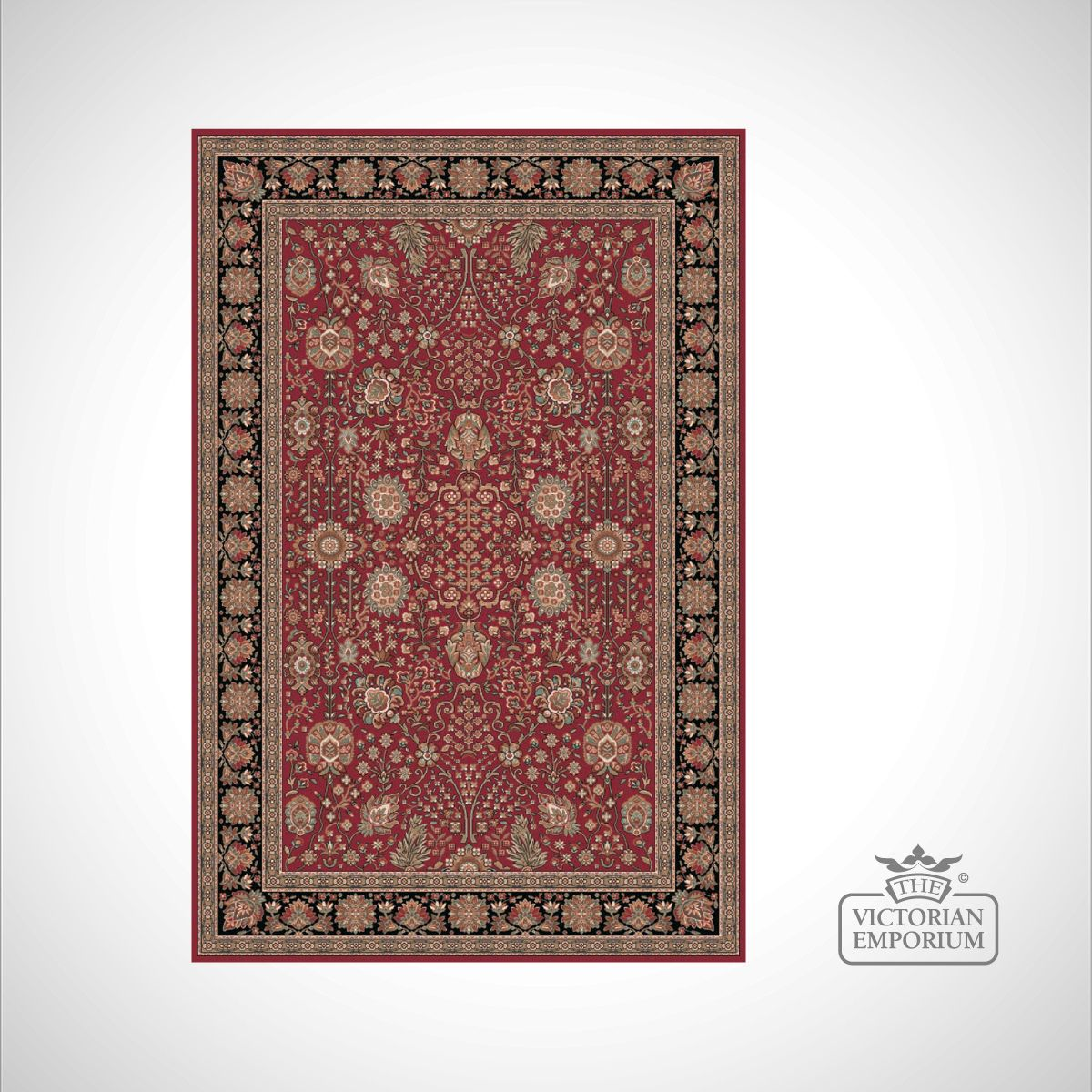 Victorian Rug Style Fa5687 Black Red