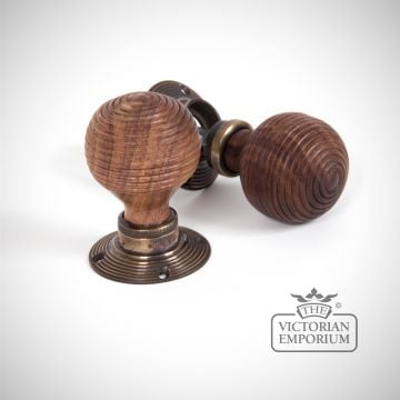 Aged Brass Roses with Rosewood Mortice/Rim Beehive Knob Set