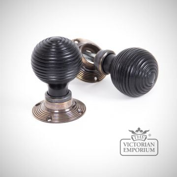 Ebony Mortice/Rim Beehive Knob Set - Aged Brass Roses