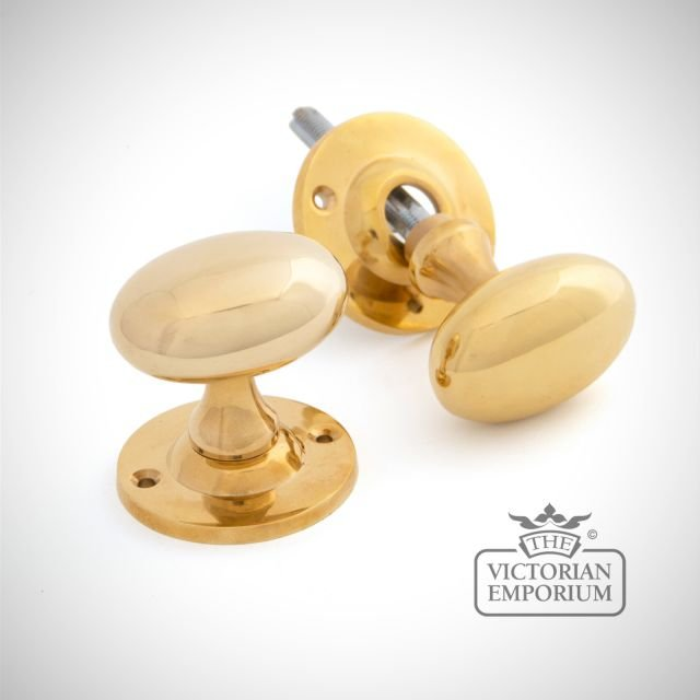 Oval Mortice/Rim Knob Set - Polished Brass