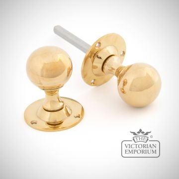 Ball Mortice Knob Set in Polished Brass