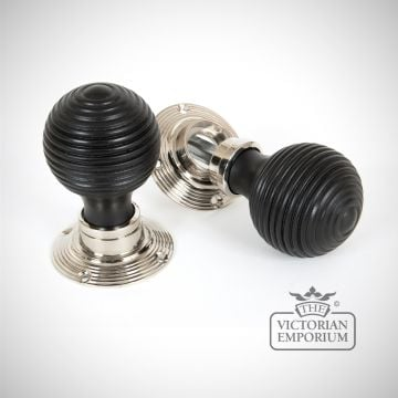 Ebony Mortice/Rim Beehive Knob Set - Polished Nickel Roses