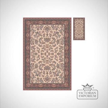 Victorian Rug - style NA1236 in Beige/Rose, Rose or Beige/Green