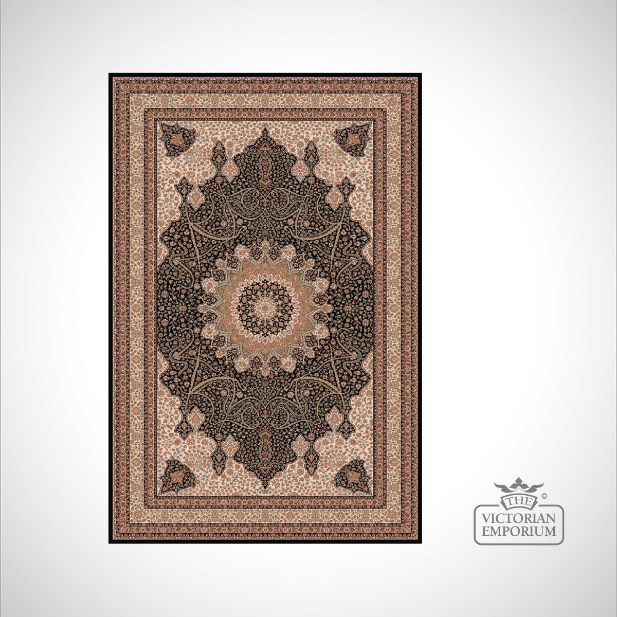 Victorian rug style na1285 black and gold rugs for Victorian decor store