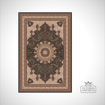 Victorian Rug - style NA1285 Black and Gold