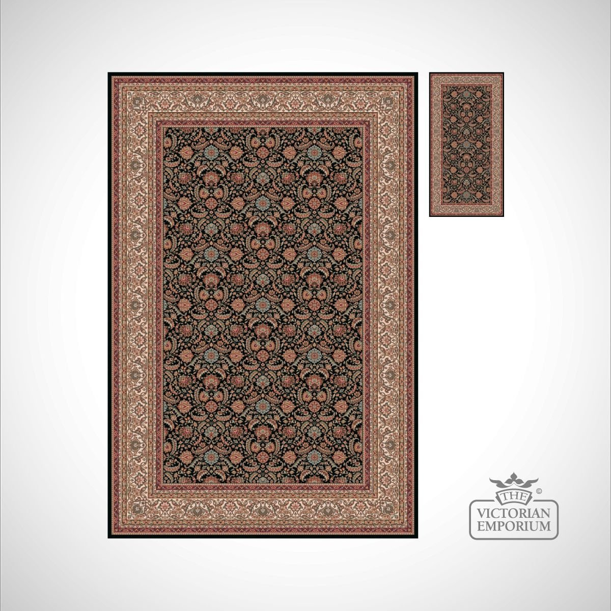 Victorian rug style na1288 black rugs for Victorian decor store
