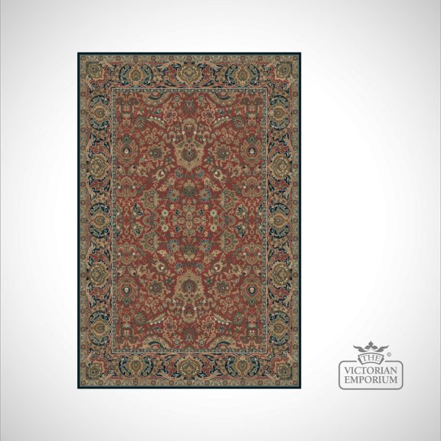 Victorian rug style km4150 in red navy rugs for Red and navy rug