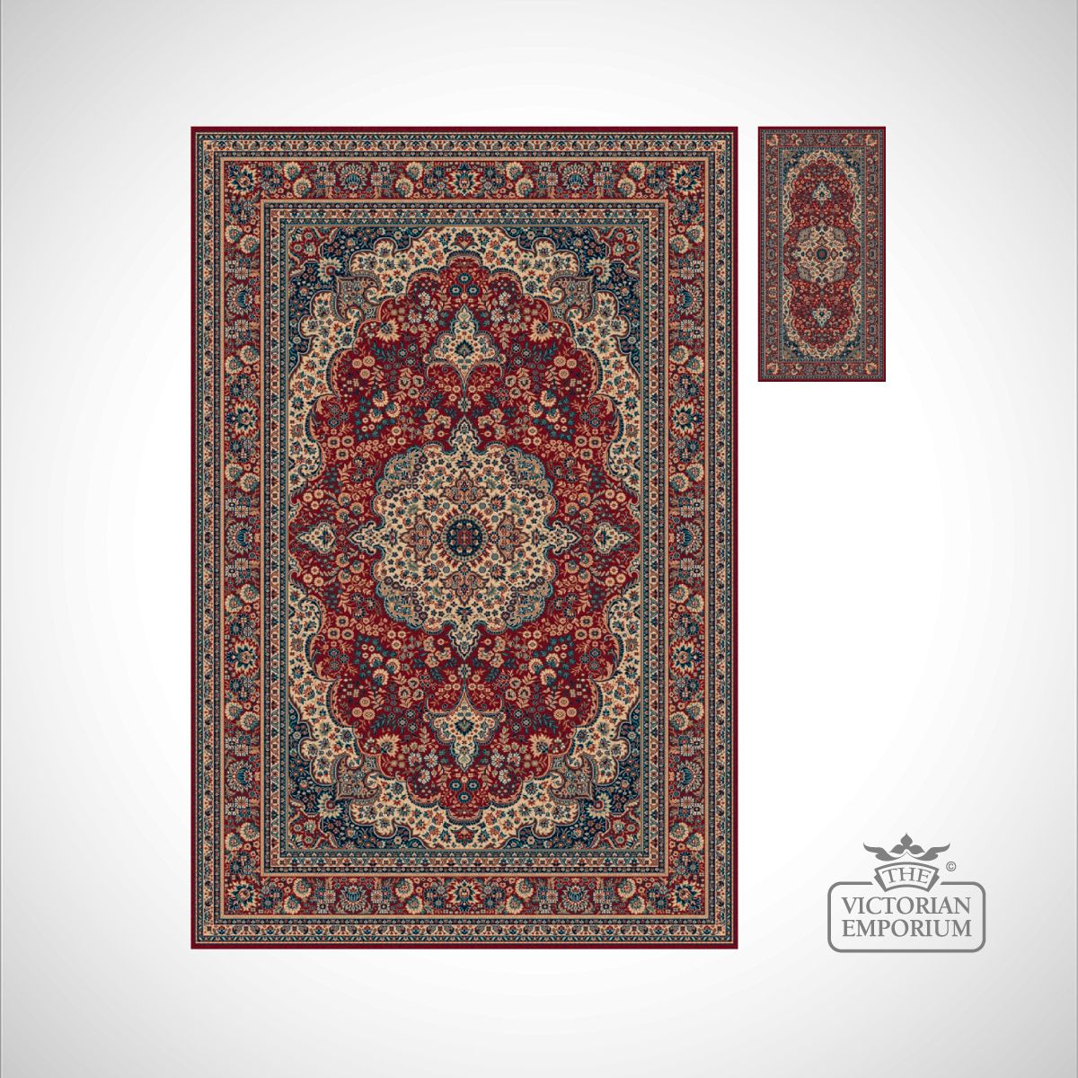 Victorian Rug Style Ro1560 Red Or Navy Rugs