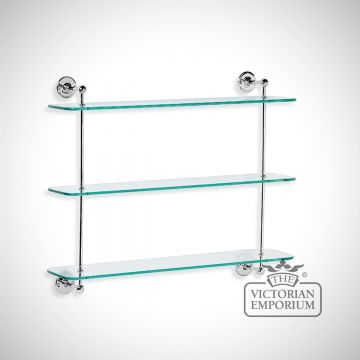 Three tier glass shelf