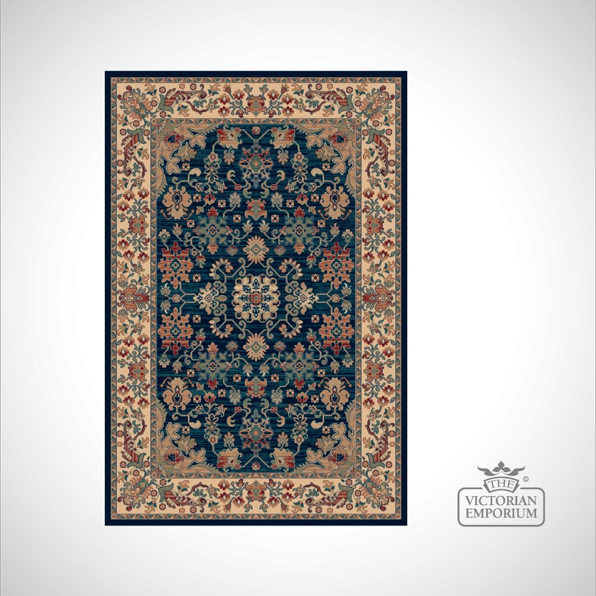Victorian Rug Style Ro1630 Navy Rugs