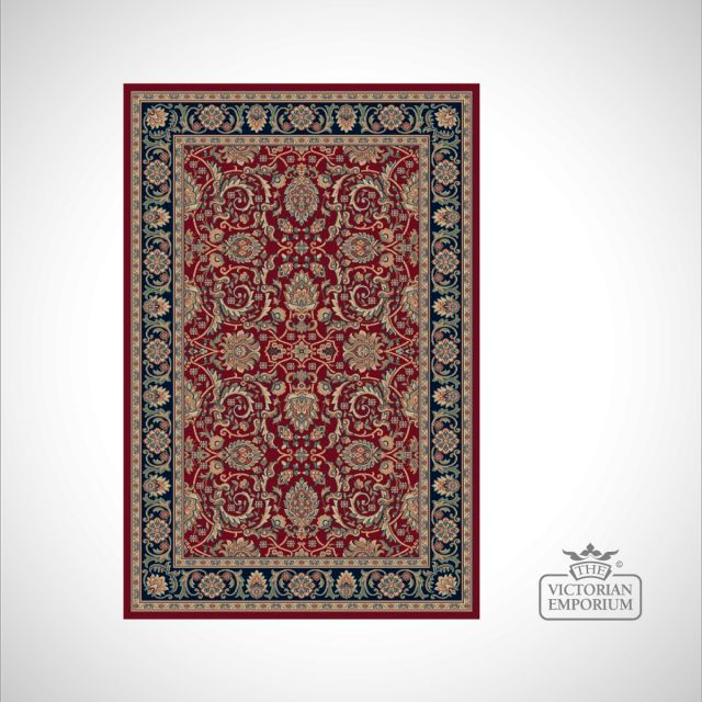 Victorian Rug - style RO1631 in Red, Navy or Beige/Navy