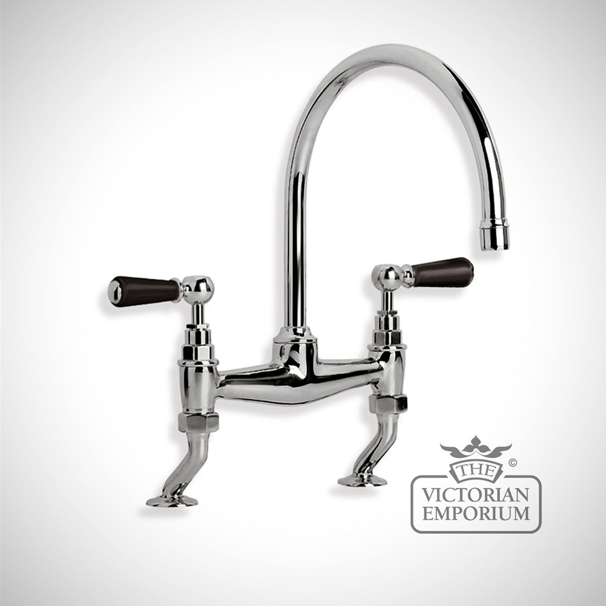 Bathroom Taps Black : Black Ceramic Lever Bridge Mixer Deck Mounted Kitchen taps and plugs