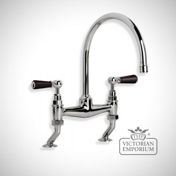 Black Ceramic Lever Bridge Mixer Deck Mounted