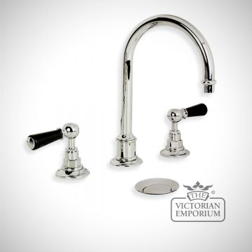 Tubular black lever, three hole basin mixer, click up waste