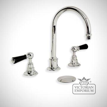 Tubular black lever, three hole basin mixer, click up waste