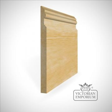 High skirting board perfect for tall rooms. Curved and straight profile 300mm x 21mm in Oak and Redwood (pine)
