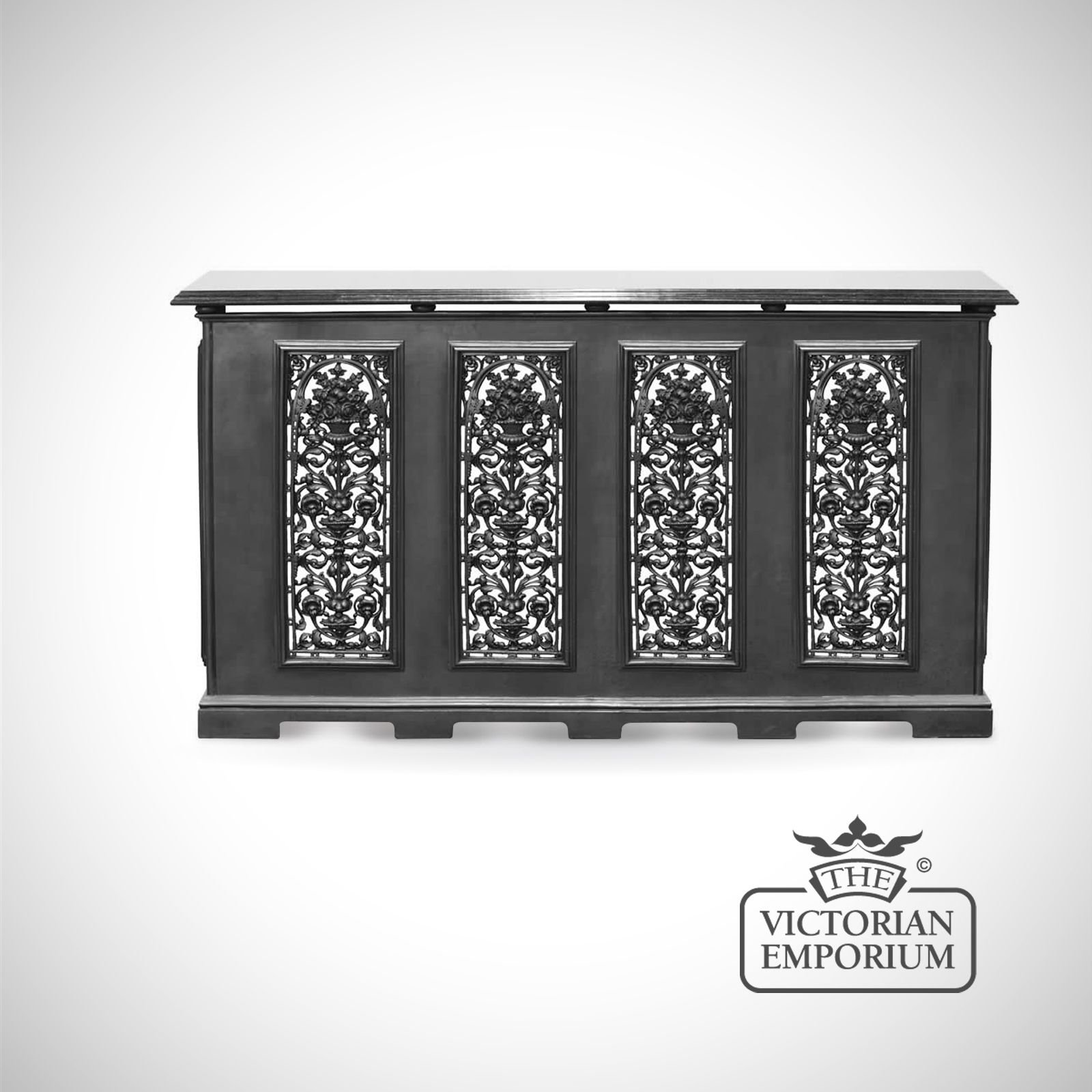 Cast iron 4 panel radiator cover with decorative vase design - Cast iron radiator covers ...