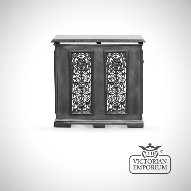 Cast Iron 2 Panel Radiator Cover with decorative fretwork front featuring vase design