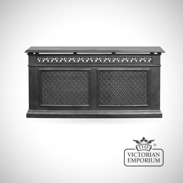 Decorative Cast Iron 2 Panel Radiator Cover with Criss Cross design