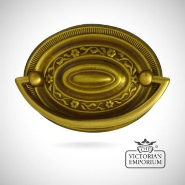 Fat oval stamped brass plate handle